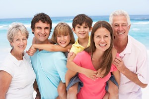 Family at Beach enjoying vacation home