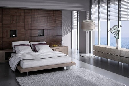 Create a relaxing and soothing space with clean lines and minimal clutter.